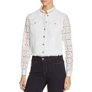 Elie Tahari White Crochet Jean Jacket Size M
